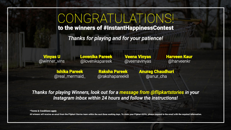 Instant Happiness Contest Winners